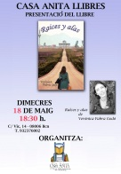 vfg-Aviso de presentación de Raíces y alas en Casa Anita Llibres